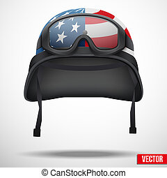 Military American helmet and goggles vector
