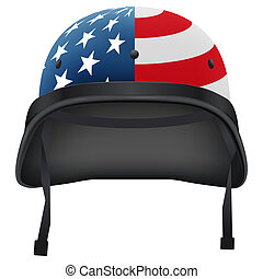 Military American helmet. Isolated on white background....