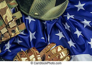 Military ammunition on US flag close up