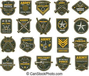 Military and army patches vector chevrons