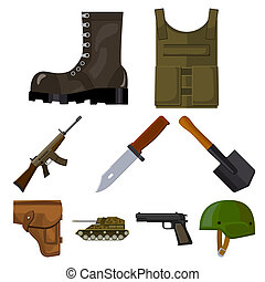 Military and army set icons in cartoon style. Big collection...