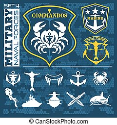 Military and naval forces badges, design elements - vector set.
