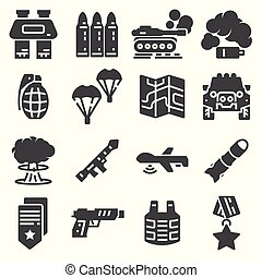 Military and war icons. Army icons universal set for web and...