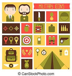 Military and war icons set. Army infographic design elements...
