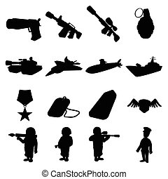 Military and war silhouettes icons set