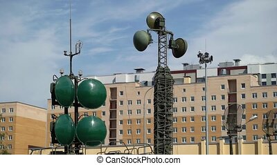 Military antenna equipment on a truch