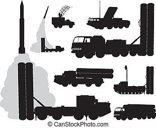 Military. Anti-air - Anti-aircraft warfare silhouettes...
