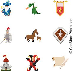 Military armor icons set, cartoon style