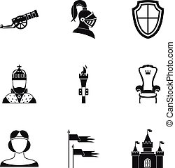 Military armor icons set, simple style
