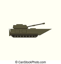 Military armored tank, army vehicle, heavy, special transport vector Illustration on a white background