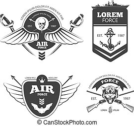 Military, armored vehicles, airforce, navy vintage vector labels, logos, emblems set