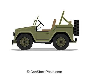 Military army car jeep vehicle. Humvee vector hummer cartoon flat safari oddroad truck illustration