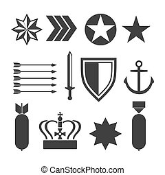 Military army elements collection isolated on white