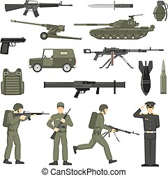 Military Army Khaki Color Icons Collecton - Army icons...