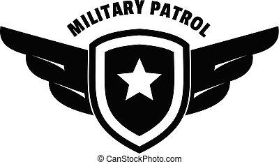 Military army patrol logo, simple style