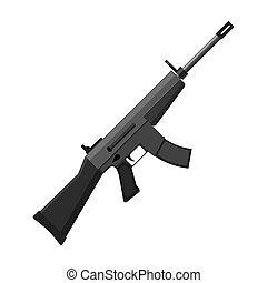 Military assault rifle icon in monochrome style isolated on...