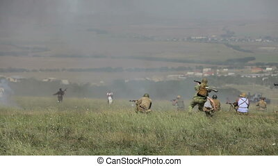 Military attack on enemy positions.