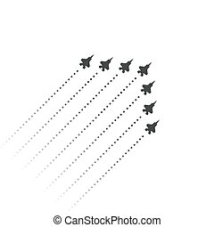 Military Aviation. Fighters fly up. wedge shape of flying jet planes. Silhouettes of reactive planes and trace of jet engines. Vector illustration.