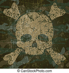 Military background with skull and crossbones (vector...
