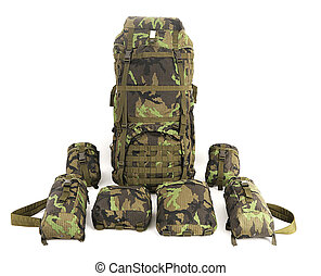 Military backpack isolated on white. Big.