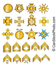 Military Badges Medals and Rank Chevrons Illustration in...