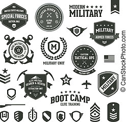 Military badges - Set of military and armed forces badges ...