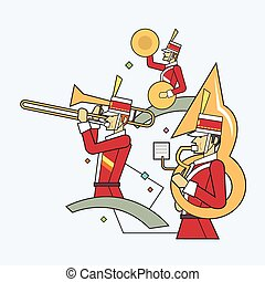 Military band line style - Vector illustration concept of...