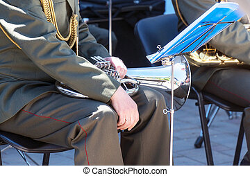 Military band musician with a wind instrument baritone