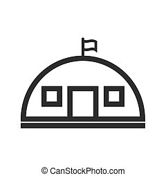 Military Base - Military, base, concrete icon vector image....