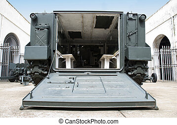 Military battlefield transport vehicle. Low angle shot from...