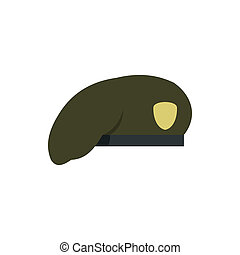 Military beret icon, flat style
