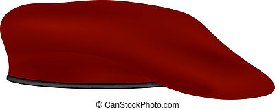 Military beret in red design on white background