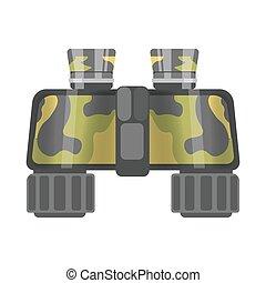 Military binoculars of camouflage color isolated cartoon...