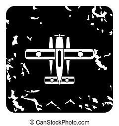 Military biplane icon, grunge style