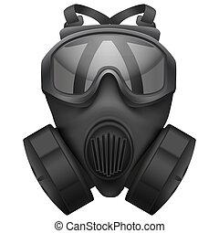 Military black gasmask respirator. Isolated on white...