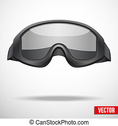 Military black goggles vector illustration. Metal army symbol of defence. Isolated on white background. Editable.