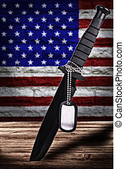 Military blade of the fallen soldier, US flag in background.