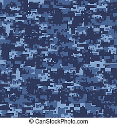 Military blue camouflage seamless pattern.