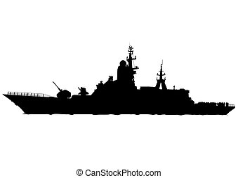 Military boat - Silhouette of a large warship on a white...