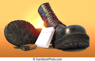 military, boot, leat