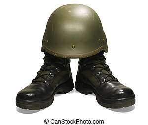 Military boots and helmet isolated