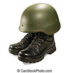 Military boots and helmet