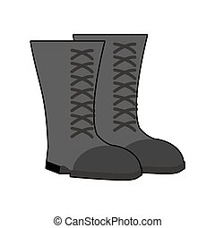 Military boots Black isolated. Army shoes on white background. soldiers footwear