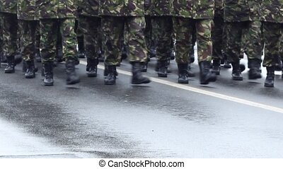 Military Boots - Close up shot of a platoon marching in...