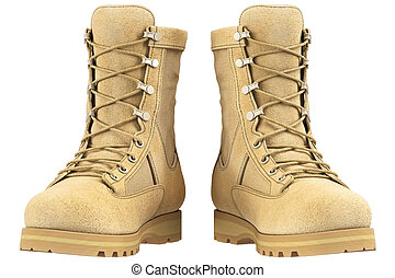 Military boots, front view - Military boots suede, front...