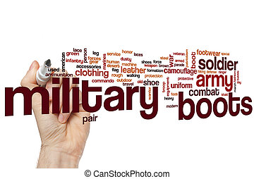 Military boots word cloud