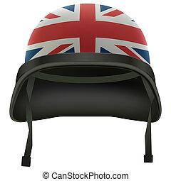 Military British flag helmet. Isolated on white background....