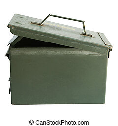 military bullet  box open cover isolated white background