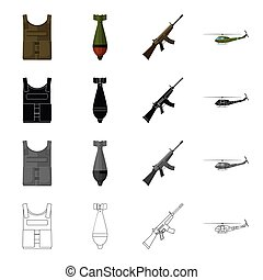 Military bulletproof vest, mine, machine gun, combat helicopter. The military and the army set collection icons in cartoon black monochrome outline style vector symbol stock illustration web.