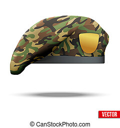 Military Beret with camo texture of Army Special Forces. Vector Illustration. Isolated on white background.